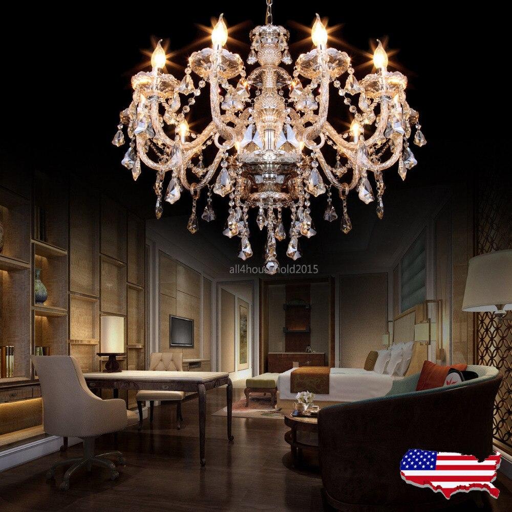 (Transporte De NÓS) Elegante Grande Cristal 10 Braço Vela Lustre Lâmpada Do Teto Pingente de Luxo