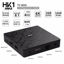 Buy Smart TV Box HK1 mini Android tv box 2018  RK3328 Quad Core Tv Box DDR3 2/16GB 4K HD 100M LAN  VS TX3 X96 Mini Media player directly from merchant!