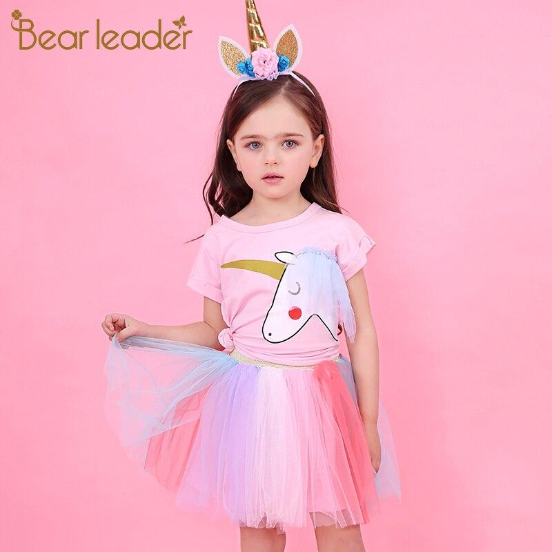Bärenführer Mädchen Kleid 2018 Neue Sommer Casual Style Cartoon Unicorn T-Shirts + Bunte Schleier Kleid 2 Stücke für Mädchen Kleidung 2-6Years