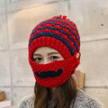Hat female autumn and winter plus velvet thickening wind cap masks thermal knitted hat knitted