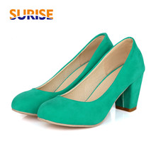 Spring Autumn Thick Block High Heel Women Pumps Flock PU Leather Round Toe Fashion Casual Party Office Wedding Slip-on Lady Pump