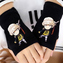 Anime One Piece Trafalgar Law Half Finger Cotton Knitting Wrist Gloves Mitten Lovers Accessories Cosplay Fashion Gift