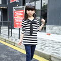2017 Spring Baby Girl New Long T-shirt Stripe Pattern Kid Bow Decor Clothes Children Cotton V-neck Long Sleeve Top Tees