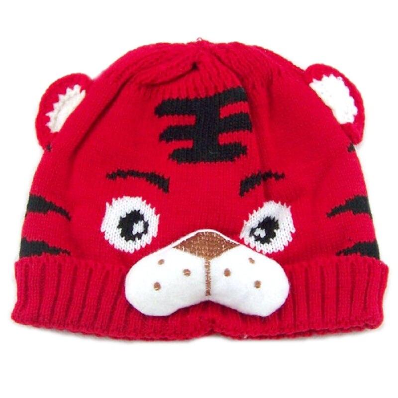 Bnaturalwell, детские шапки в виде тигра, вязаная шапка с животным дизайном, Детские шапочки с тигром, детские вязаные шапки, шапка для малыша, 1 шт., H001 - Цвет: 5 Red