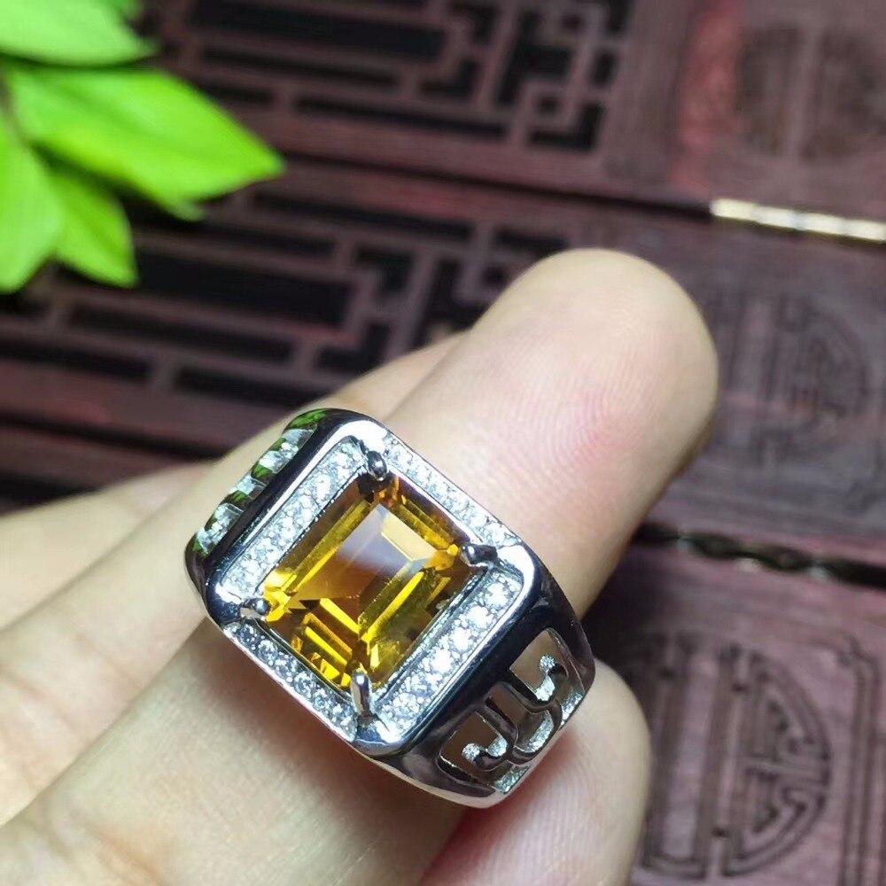 Citrino naturale anello degli uomini, bel colore, atmosfera, mestiere cava, 925 argento-in Anelli da Gioielli e accessori su  Gruppo 2