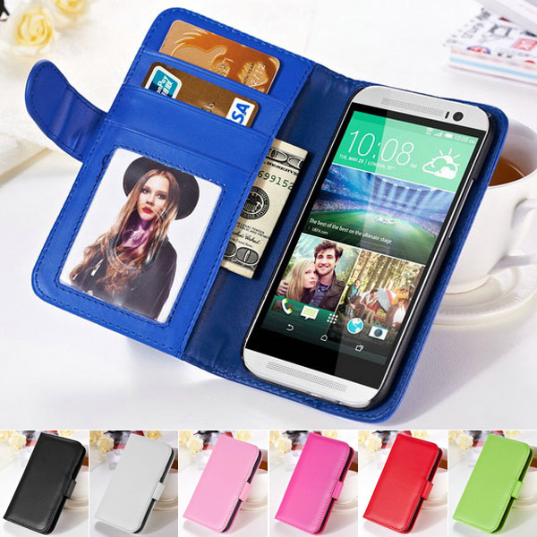 PU leather Case For HTC One M8 Flip Cover Wallet Frame Phone Bag Cover Case For HTC One M8 with Stand Function