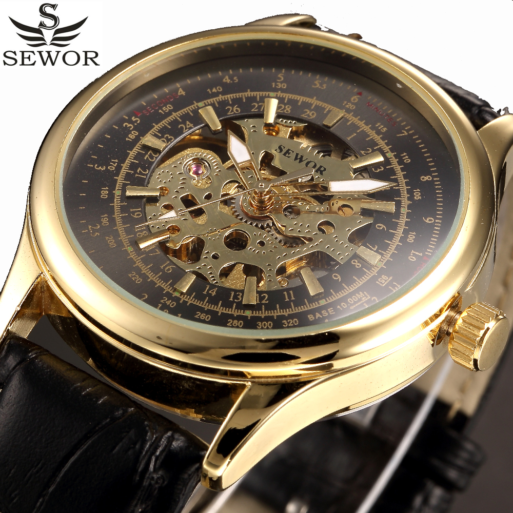 SEWOR Gold Luxury Brand Automatic Mechanical Watch Men Skeleton Analog Leather Men Watches Business Watch Relogio Masculino fashion automatic mechanical watch luxury brand sewor watches skeleton military clock leather men casual erkek kol saatleri