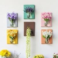 Nieuwe 1 Set 20*15 cm Kunstmatige Bloemen Planten Plastic Glazen Vaas Board Eucalyptus campanula Wanddecoratie Home Decor voor Bruiloft