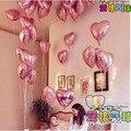 10 unids/lote 18 pulgadas Perla rosa Amor Corazón Foil Globos de Helio decoraciones de la Fiesta de Cumpleaños de La Boda te amo año nuevo globo