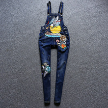 2017 New Spring Autumn Sequins Jeans Women's Eagle Embroideried Overall Pants Cartoon Patch Ripped Boyfriend Jeans For Women