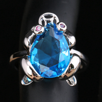 Lovely Frog Light Blue Zircon Gems 925 Sterling Silver Party Jewelry Solitaire Ring US# Size 6 / 7 / 8 / 9 S1796