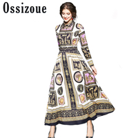 Runway Dresses Women 2018 High Quality Luxury Brand Print Casual Party Dresses Long Maxi Dress Spring