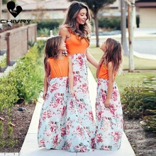 Chivry New Mother Daughter Dresses Sleeveless Patchwork Floral Long Dress Mom and Daughter Sundress Family Matching Clothes family look clothes brand european black rose pleated a shape sleeveless skirts women midi sundress mother and daughter dresses