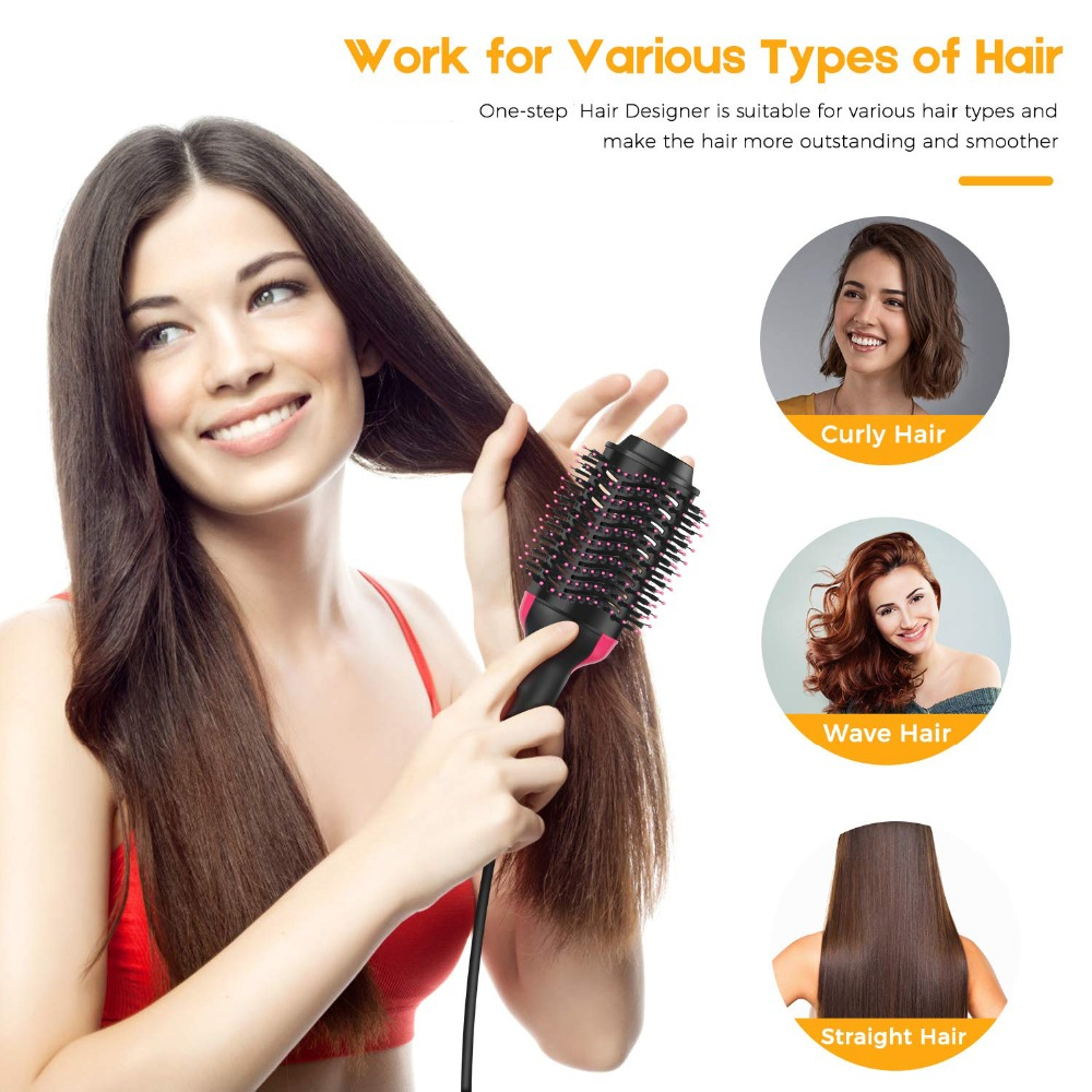 One step Professional hair dryer Brush 2In 1 Hair Straightener Curler Comb Electric Blow Dryer With Comb Curling Flat iron