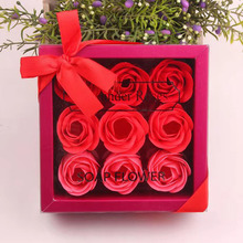9Pcs Scented Rose Flower Petal Bath Body Soap Wedding Party Gift Box Creative Birthday Company Promotion Fake flower