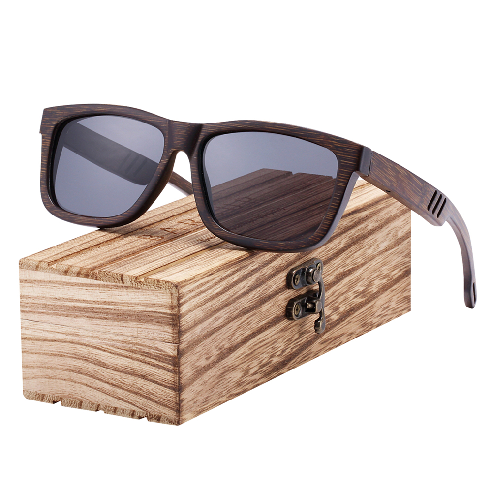 BARCUR Unique Design Black Bamboo Sunglasses Wood Fashion Male Sun glasses Lady UV400 Polarized Sport Eyewear