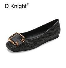 Купить с кэшбэком 2019 Spring Summer Womens Sandals Shoes Metal Buckle Decoration Flat Shoes Fashion Slip On Loafers Female Hole Shoes Women Flats