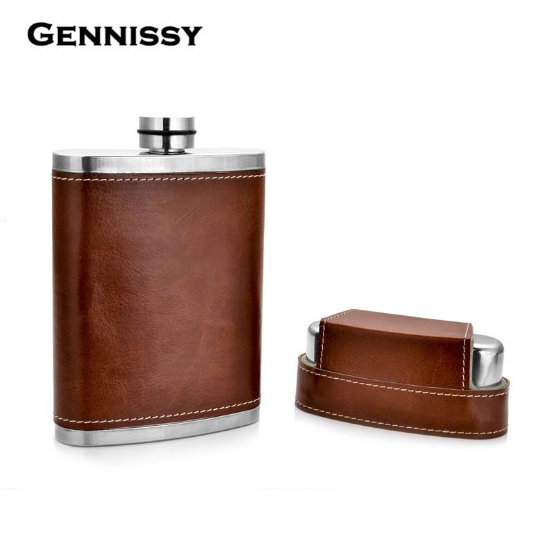 8oz Leather Covered Hip Flask With Caps Stainless Steel Flask For Alcohol Outdoor Travel Essential Goods
