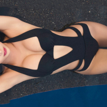 цена 2017 Sexy Black Halter Cut Out Bandage Trikini Swim Bathing Suit Monokini Push Up Brazilian Swimwear Women One Piece Swimsuit онлайн в 2017 году