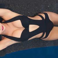2019 Sexy negro Halter corte vendaje Trikini traje de baño Monokini Push Up brasileño traje de baño de una pieza para mujer traje de baño