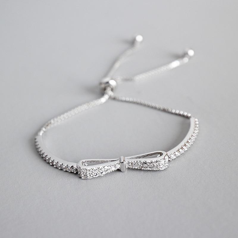 100% 925 sterling silver bracelets for women, elegant bracciali donna adjustable crystal bowknot bracelets & bangles jewelry 925 sterling silver bracelets for women moon and star cz crystal bracelets