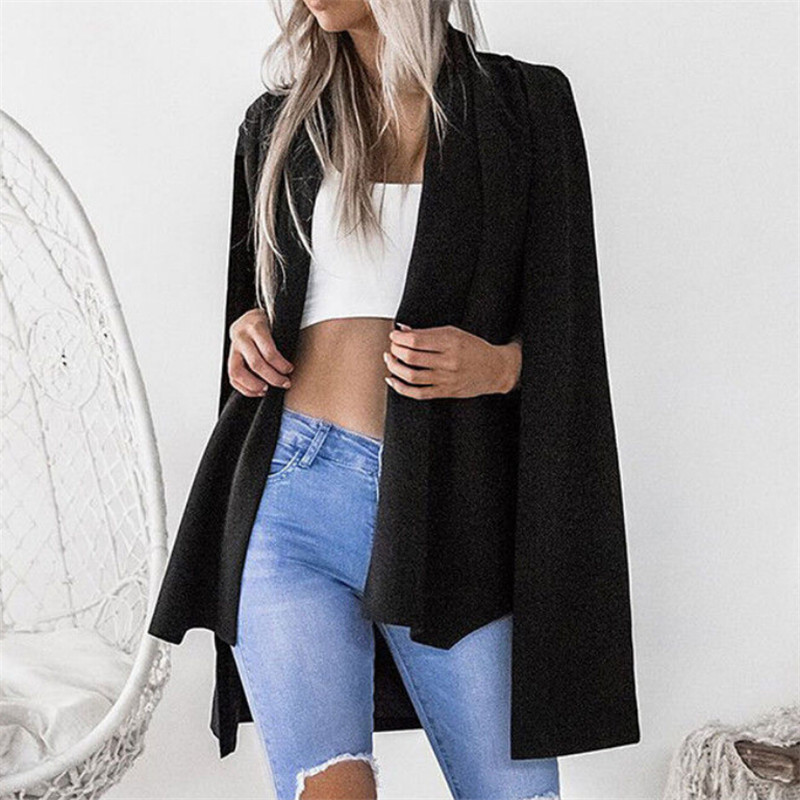 Women Long Sleeve Lapel Split Cape Coat Fashion 2018 New