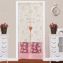 XIAOKENAI Cotton linen Wind Floating World Painted Blackout Curtain Porch Feng Shui New Simple Door Curtains