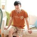 Летние мужские 100% Хлопок Гостиная С Коротким рукавом Повседневная Пижамы дома Одежда мужская Пижамы установить