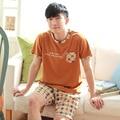 Varón Verano 100% Algodón Salón Informal de manga Corta Ropa de Dormir de Los Hombres conjunto ropa de Dormir En casa