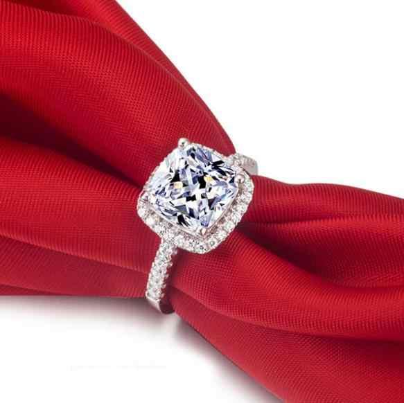 เรียบง่ายผู้หญิงคริสตัล 925 เงินสเตอร์ลิงแหวนสำหรับงานแต่งงานเครื่องประดับหมั้นเครื่องประดับ Fine Rhinestone Anillos ของขวัญ