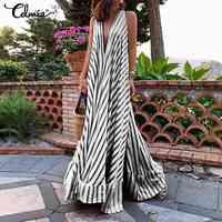 5XL Celmia Summer Dress Bohemian Women Maxi Long Sundress Ladies Sexy V-neck Casual Loose Ruffle Vestidos Party Robe Plus Size