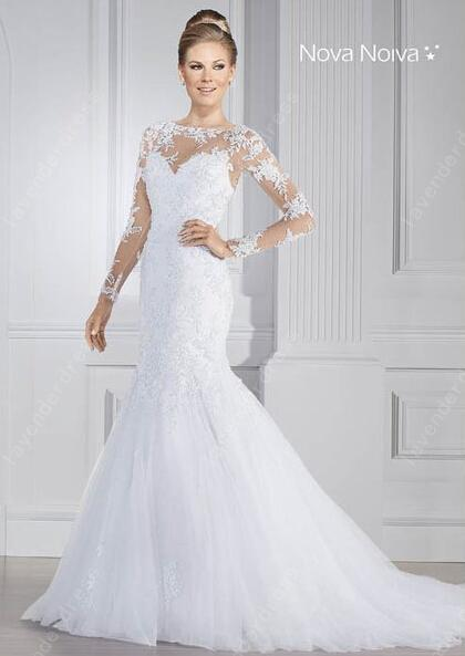 Latest Designs Bridal Lace Long Sleeves Vintage Wedding Dress 2015 ...