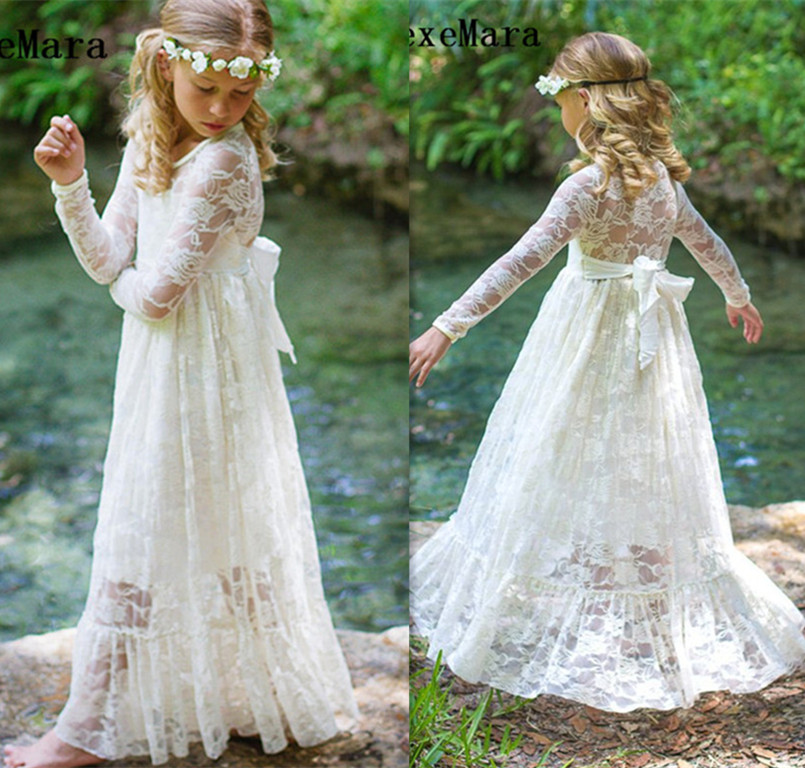 New Boho Lace   Flower     Girl     Dress   Long Sleeve O Neck Soft Tulle   Girls   Birthday   Dress   2019 Customized   Girls     Dress   Special Occasion