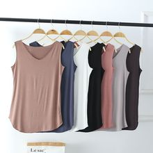 Newest 100% Cotton Soft Summer Women Wild Bottoming Shirt Sleeveless V Neck Vest Loose Plus Size Solid Casual Womens Tank Tops
