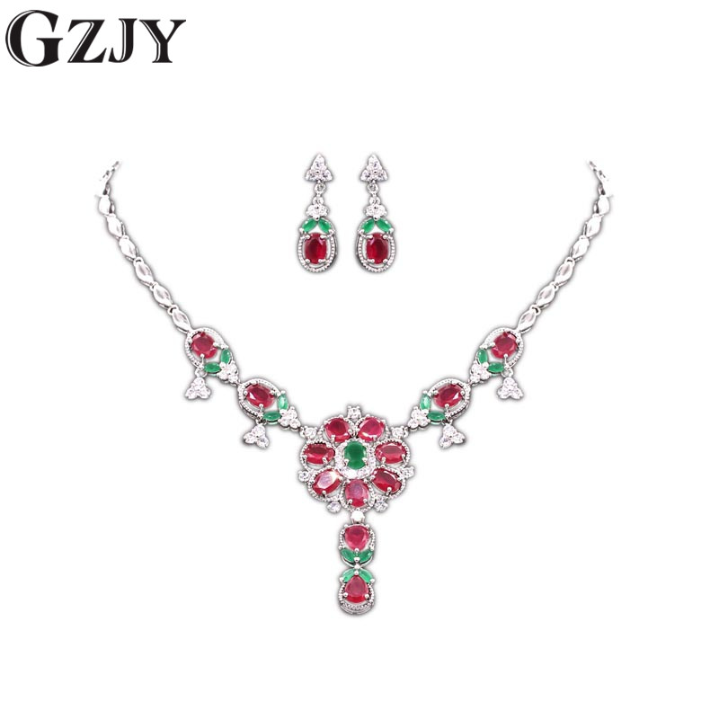 GZJY Noble Jewelry Sets White Gold Color Green Red Stone&AAA Cubic Zircon Necklace Earring Set For Women Wedding Party Jewelry colorful cubic zirconia hoop earring fashion jewelry for women multi color stone aaa cz circle hoop earrings for party jewelry