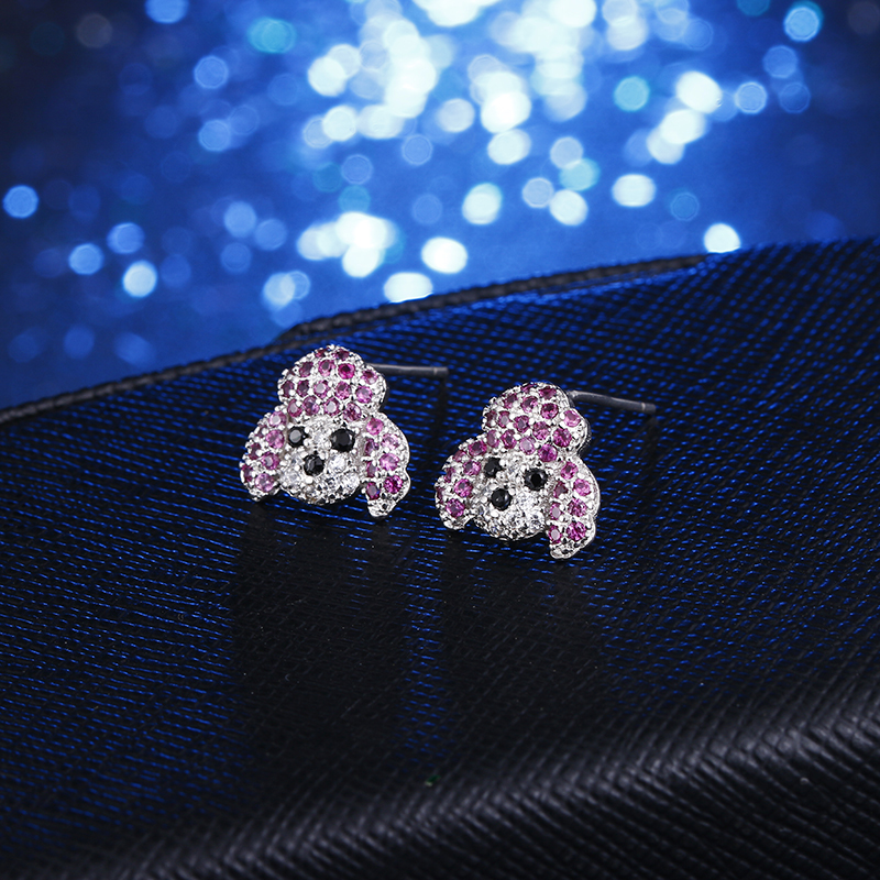 100 925 sterling silver cute dog animal shiny crystal ladies stud earrings jewelry Anti allergy female birthday gift women in Stud Earrings from Jewelry Accessories