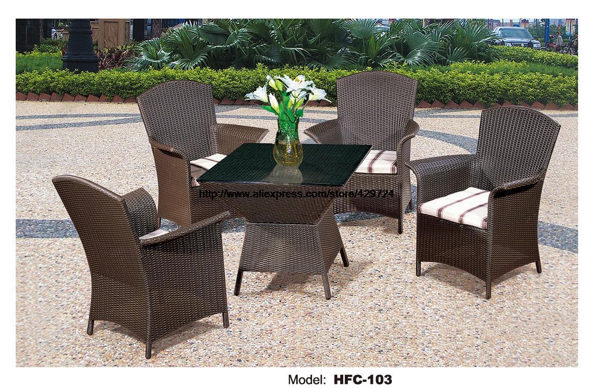 comfortable high back armest chairs creative table rattan garden set