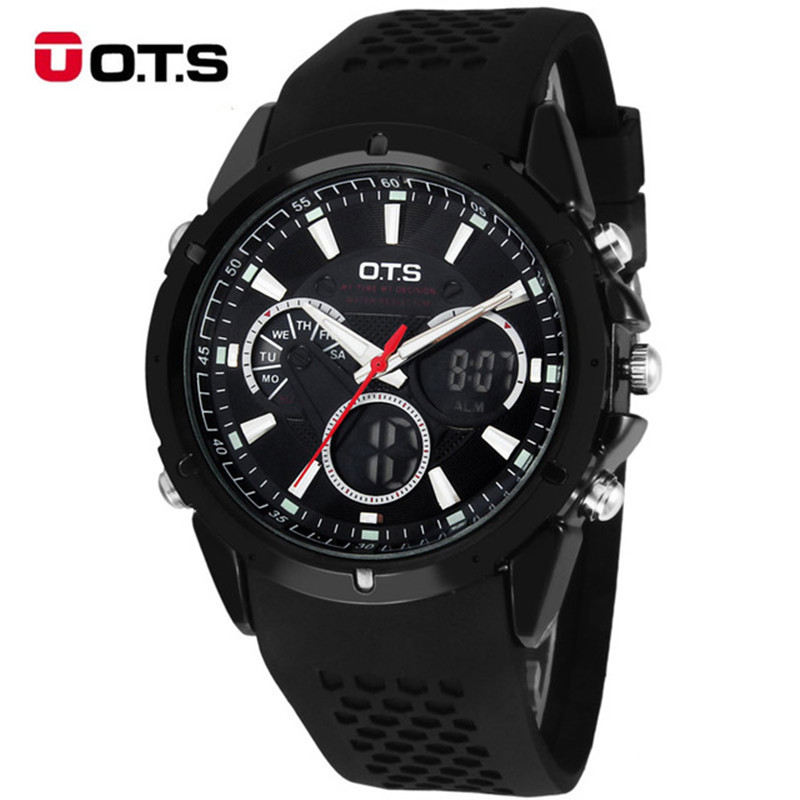 Men Digital Watch OTS Auto Date Day LED Rubber Band Sports Watches Analog Quartz Military Wristwatches Man Clock relogio встраиваемый светильник donolux dl18431 11ww r white dim