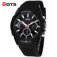 Men Digital Watch OTS Auto Date Day LED Rubber Band Sports Watches Analog Quartz Military Wristwatches Man Clock relogio