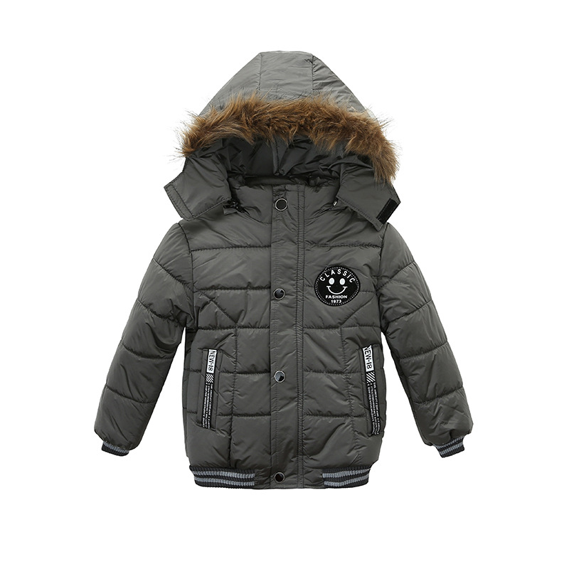 Fashion Winter Childrens Cotton Warmer Coat Boys hooded Smile Printing Wind Resistant Outwear Suitable for 1-5T KidsFashion Winter Childrens Cotton Warmer Coat Boys hooded Smile Printing Wind Resistant Outwear Suitable for 1-5T Kids