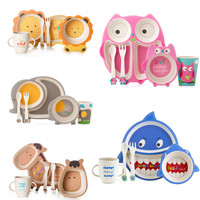 5pcs/set Eco friendly Bamboo Fiber Baby Dishes Sub grid Plate Cartoon Creative Child Tableware Infant Toddler Feeding Dinnerware|Dishes|Mother & Kids -