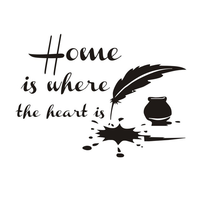 Home Is Where The Heart Is Feather Quotes Wall Art Room Sticker