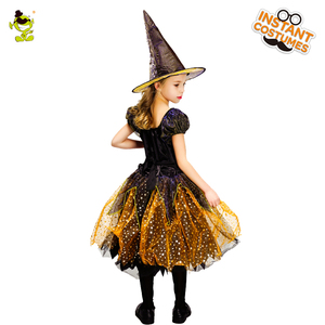 Image 3 - Girls Witch Costume Kids Gold Elegant Witch Dress With Hat Clothes For Halloween Cosplay Party Costumes