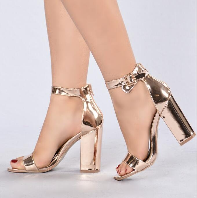 Women Rose Gold Chunky Heel Sandals Ankle Strap Thick Heel Shoes Peep Toe Ankle Strap Cut-out Gladiator Sandals Dress Shoes leisure women s sandals with peep toe and chunky heel design