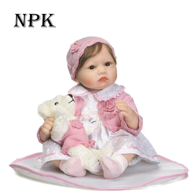 NPK Soft Silicone Reborn Baby Doll 55CM Girl Lifelike Dolls Toys Full VInyl Baby Reborn Dolls Kids Girl Playmate Children Gifts женская футболка other 2015 harajuku t tshirt nz0106