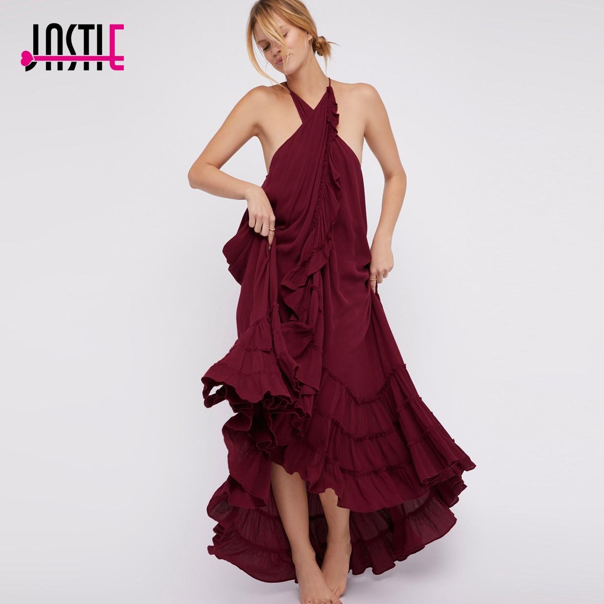Jastie Shapeless Wrap Around Maxi Dress High Crisscrossed