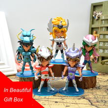In Gift Box 10cm 5pcs/set Q version Saint Seiya jabu shun hyoga Shiryu PVC Action Figure toys cmt instock original bandai saint seiya ex leo aiolia action figure myth metel armor toys figure