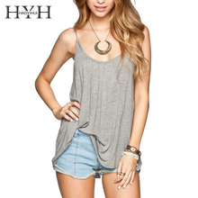 HYH HAOYIHUI Solid Spaghetti Strap Lace Up Tops Casual New Fashion Backless Cami Women Summer O Neck Loose Long Camis