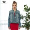 Bella philosophy 2017 primavera outono novas calças de brim das mulheres do vintage solto jaqueta jeans outerwear