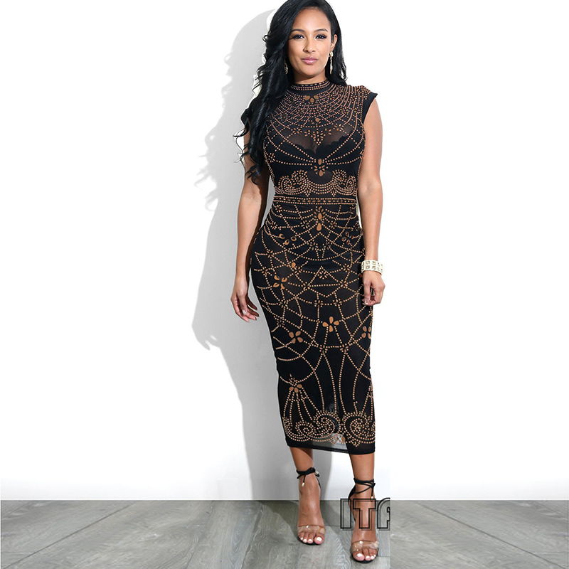2018 Women <font><b>Sexy</b></font> <font><b>Dress</b></font> Sleeveless Evening Party <font><b>Night</b></font> Slim <font><b>Transparent</b></font> Fashion African Ladies <font><b>Dresses</b></font> Summer New image